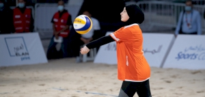 Al Shaqab dominate Msheried Ladies in straight set to reach the quarterfinals of the QOC Beach Games