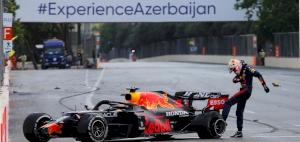 Azerbaijan Grand Prix: Sergio Perez wins after Max Verstappen high speed crash