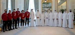 HH the Amir Meets Team Qatar Champions at Tokyo 2020 Olympics